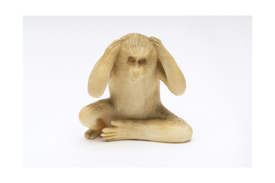 Hear No Evil, One of the Three Wise Monkeys Giclee Print by  Japanese School