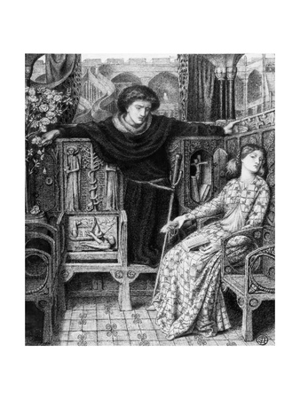 Hamlet and Ophelia, 1858 Giclee Print by Dante Gabriel Rossetti