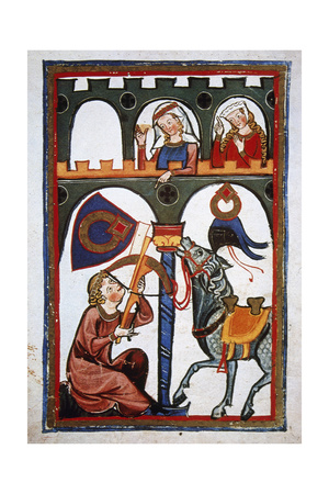 Rubin in a Castle Sending a Message to His Loved with a Crossbow. Codex Manesse (Ca.1300) Giclee Print