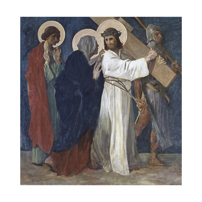 Jesus Meets His Mother (4th Station of the Cross) 1898 Giclee Print by Martin Feuerstein