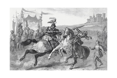 Two Knights Jousting at a Tournament in Germany Giclee Print