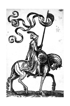A Man on Horseback, 1576 Giclee Print by Melchior Lorck