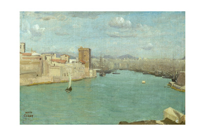 Marseille: the Old Port, 1843 Giclee Print by Jean-Baptiste-Camille Corot