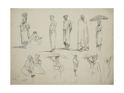 Butterworth: Group of Sketches of African Men and Women, 1851 Giclee Print by Thomas Baines