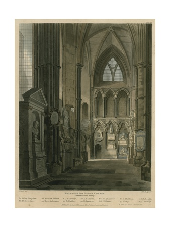 Entrance into Poets Corner, Westminster Abbey, London Giclee Print by Augustus Charles Pugin
