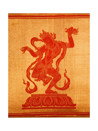 Sino-Tibetan Silk and Gold Brocade Altar Cloth Depicting Eight Auspicious Emblems Interspersed by… Giclee Print