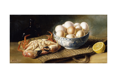 A Crab and a Bowl of Eggs on a Basket, with a Bottle and Half a Lemon Giclee Print by Mary E. Powis