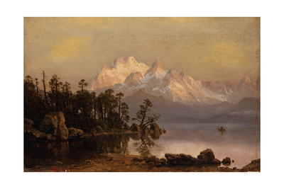 Mountain Canoeing Giclee Print by Albert Bierstadt