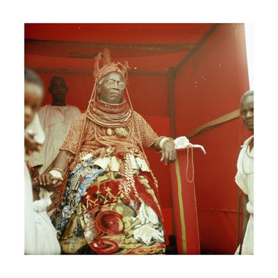 The Late Oba Akenzua II in Full Regalia, Including a Coral Garment and Headpiece Giclee Print