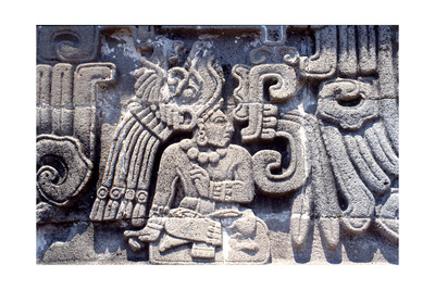 """Detail from the """"'Emple of the Feathered Serpent' at Xochicalco, Showing a Richly Attired… Giclee Print"""