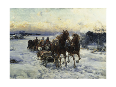 The Sleigh Ride Giclee Print by Alfred von Wierusz-Kowalski