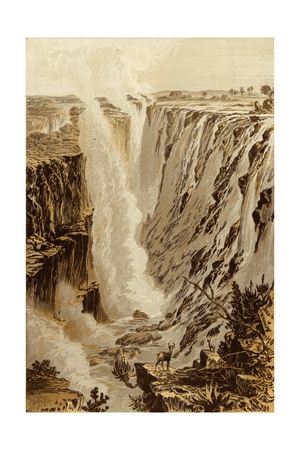 The Victoria Fall, Zambesi, from the East End of the Chasm Giclee Print by Thomas Baines