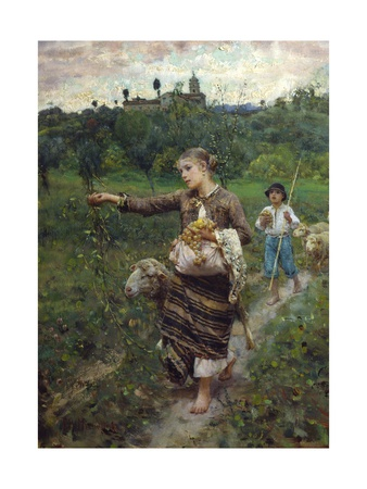 The Shepherdess Giclee Print by Francesco Paolo Michetti