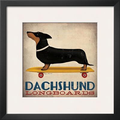 Dachshund Longboards Print by Ryan Fowler