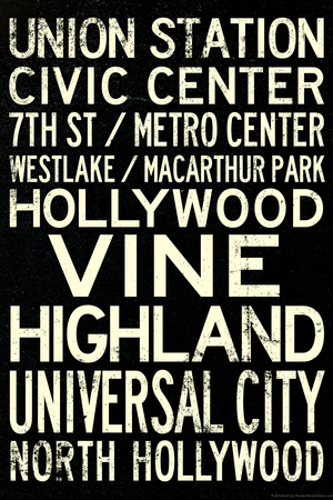 Los Angeles Metro Rail Stations Vintage Subway RetroMetro Travel Plastic Sign Plastic Sign