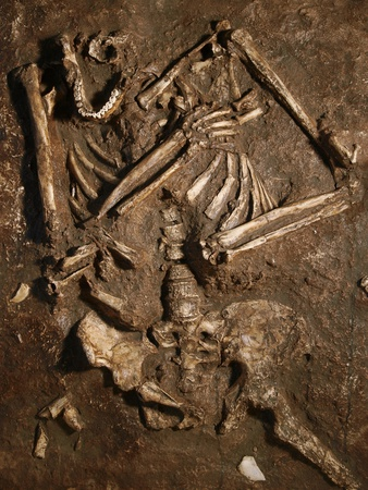 Neanderthal Skeleton, Kebara Cave, Israel Premium Photographic Print by Javier Trueba