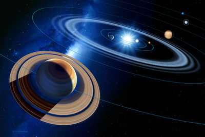Saturn And Solar System Photographic Print by Detlev Van Ravenswaay