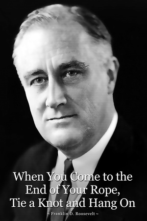 Franklin D. Roosevelt Hang On Quote Plastic Sign Plastic Sign