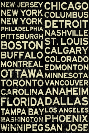 National Hockey League Cities Vintage Style Plastic Sign Plastic Sign