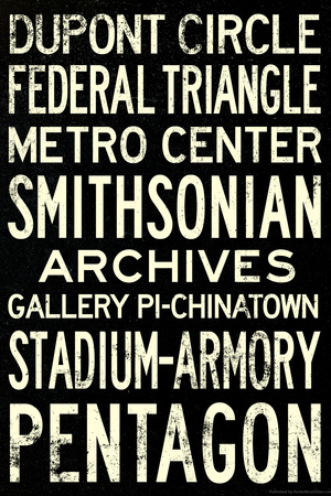 Washington DC Metro Stations Vintage RetroMetro Travel Plastic Sign Plastic Sign