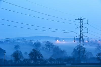Electricity Pylon In Fog Photographic Print by Jeremy Walker