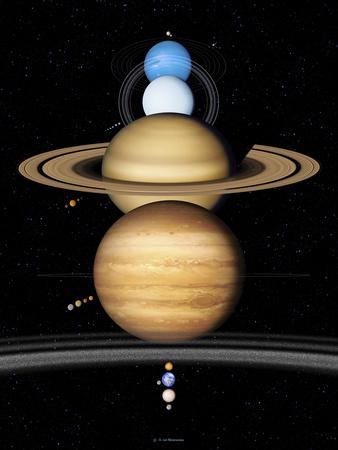 Solar System Planets Premium Photographic Print by Detlev Van Ravenswaay