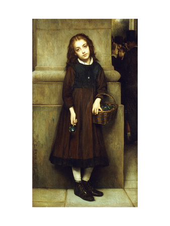 Flower Girl outside the Opera Premium Giclee Print by Guillaume Charles		 Brun