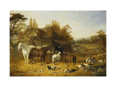 A Farmyard with Horses and Ponies, Berkshire Lámina giclée por John Frederick Herring I