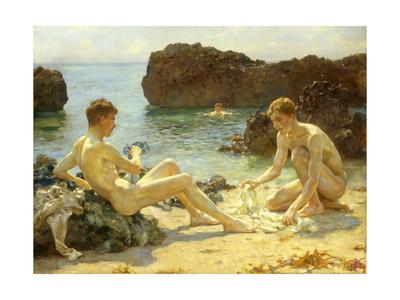 The Sun Bathers Premium Giclee Print by Henry Scott Tuke