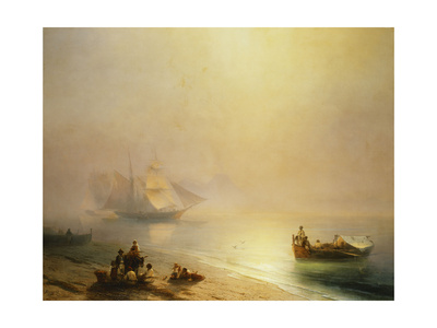 Fisherfolk on the Seashore, The Bay of Naples Premium Giclee Print by Ivan Konstantinovich Aivazovsky