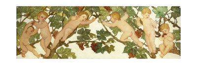 Putti Frolicking in a Vineyard Premium Giclee Print by Phoebe Anna Traquair