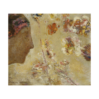 Woman in Profile with Butterfly and Flowers Giclee Print by Odilon Redon
