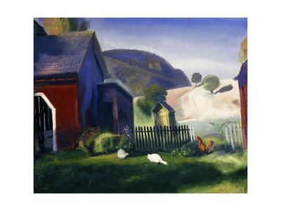 Barnyard and Chickens Lámina giclée por George Wesley Bellows