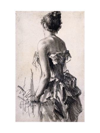 Backview of a Woman Premium Giclee Print by Adolph Menzel