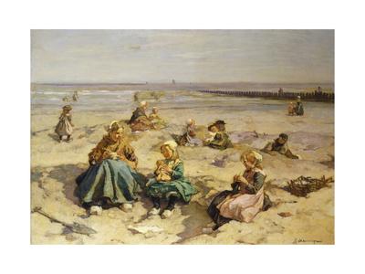 A Day at the Seaside Premium Giclee Print by Johannes Evert Akkeringa