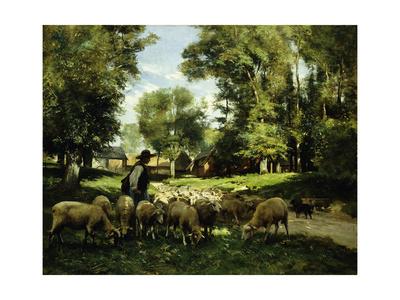 A Shepherd and his Flock Lámina giclée por Julien Dupre