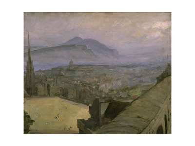 A View of Edinburgh from the Castle Looking Across the Esplanade Towards Arthur's Seat Premium Giclee Print by Sir John Lavery