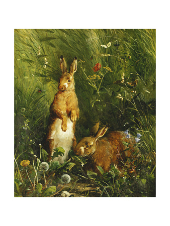 Hares Premium Giclee Print by Olaf August		 Hermansen