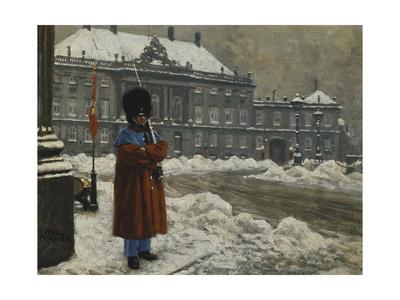 A Royal Life Guard on Duty Outside the Royal Palace Amalienborg, Copenhagen Gicléetryck av Paul Fischer