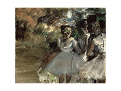 Three Dancers in the Wings Premium Giclee Print by Edgar Degas
