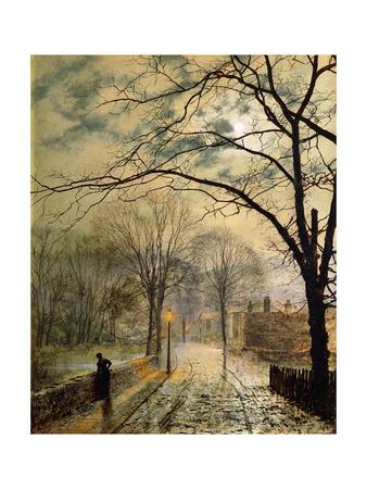 A Moonlit Stroll, Bonchurch, Isle of Wight Premium Giclee Print by John Atkinson Grimshaw