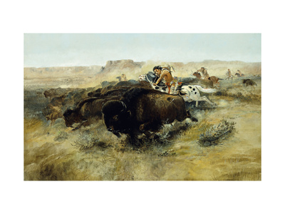Buffalo Hunt no. 7 Premium Giclee Print by Charles Marion		 Russell