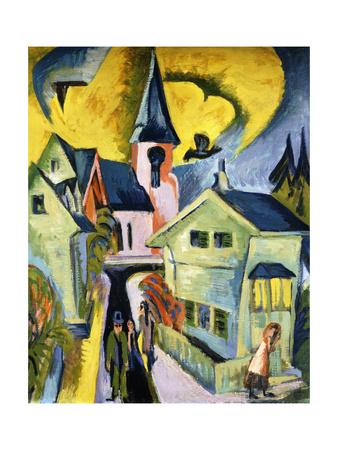 Konigstein with Red Church Premium Giclee Print by Ernst Ludwig Kirchner