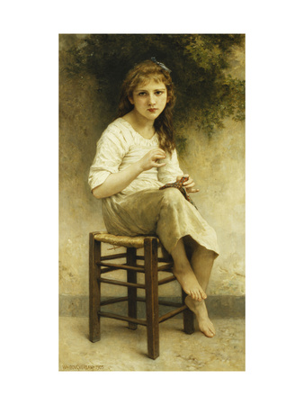 Idle Thoughts (Little Girl Sitting Embroidering) Premium Giclee Print by William Adolphe Bouguereau
