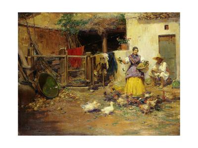 Feeding the Chickens Lámina giclée por Benlliure y Gil Jose