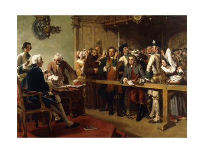 Hogarth Brought Before the Governor of Calais as a Spy Premium Giclee Print by William Powell Frith