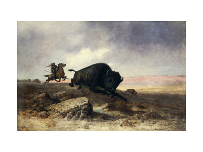 Buffalo Hunt Premium Giclee Print by Astley David Middleton		 Cooper
