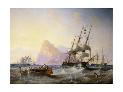 British Men O' War off Gibraltar Premium Giclee Print by John Wilson Carmichael