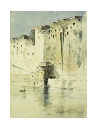 Old Fortress Naples Premium Giclee Print by Childe Hassam