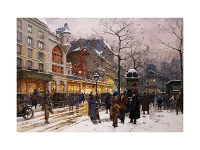 Matinee au Moulin Rouge, Paris. Premium Giclee Print by Eugene Galien-Laloue